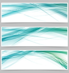 Modern blue swoosh line flyer collection vector image