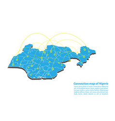 Modern of nigeria map connections network design vector