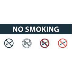 no smoking icon set premium symbol in different vector image