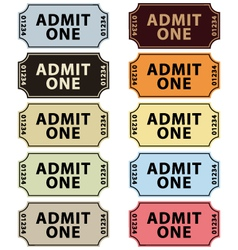 Old fashioned cinema tickets set vector