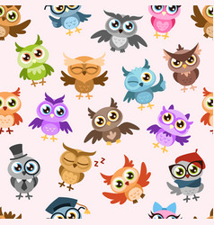 owls seamless pattern colorful cute wise owl vector image