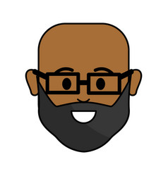 People happy face man with glasses icon vector