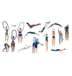 People in swimming pool set vector