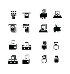 Piggy bank and money in wallet icons vector