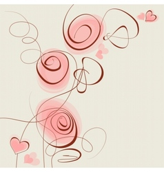 pink flowers and hearts background vector image