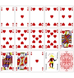 Poker cards heart set four color classic design vector