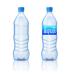 Realistic plastic bottle with mineral water vector