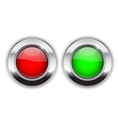 red and green round buttons glass 3d shiny icons vector image