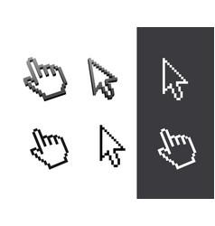 retro black pixel computer cursor set vector image