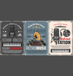 retro music podcast station and gramophone vinyl vector image