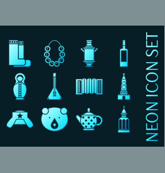 Russia set icons blue glowing neon style vector