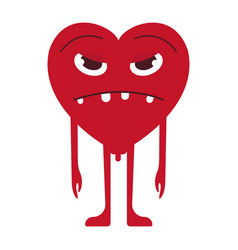 sad heart smile emoticon vector image