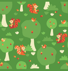 seamless kids pattern squirrels and birds vector image