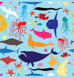 seamless multicolored marine pattern vector image