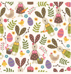 seamless pattern with easter rabbit vector image
