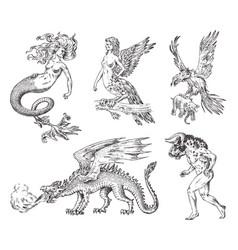 set mythological animals mermaid minotaur vector image
