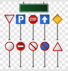 set road signs on transparent background vector image