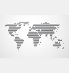 Simple map of the world made up of black stripes vector