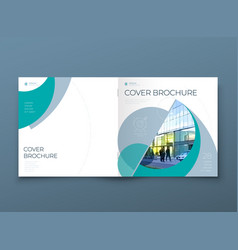 Square cover with minimal teal geometric design vector