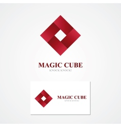 Square logo with business card template vector image