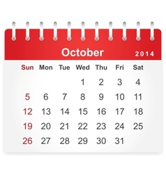 Stylish calendar page for October 2014 vector image vector image