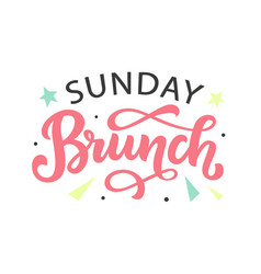 sunday brunch calligraphy logo badge vector image