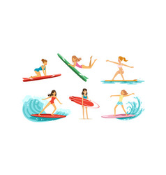 surfing girls collection female surfers in vector image