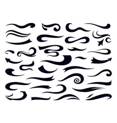 Swashes and swooshes curly swirl elements retro vector