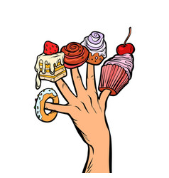 sweets cake cupcake donut marshmallow on fingers vector image
