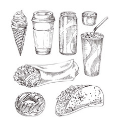 take away refreshing drinks and fast food icon set vector image