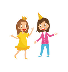 to cute girls in party hats having fun at birthday vector image