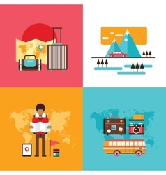 Travel tourism holidays vacation banner set Young vector