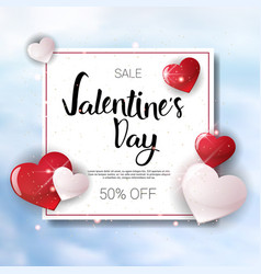 Valentine day sale banner template flyer with copy vector