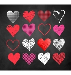 Valentine hearts on blackboard background vector image