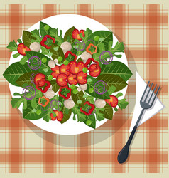 vegetables dish tablecloth with fork vector image