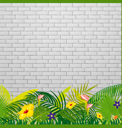 white brick wall background with tropical leaves vector image