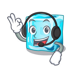 With headphone ice cubes on the cartoon funny vector