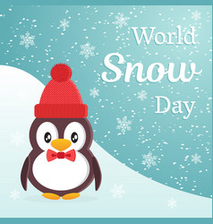 world snow day theme design cute cartoon penguin vector image