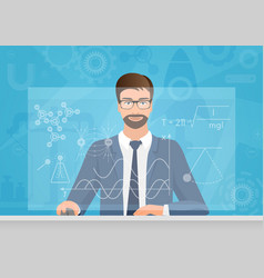 bearded man physicist making the graphs formula on vector image vector image