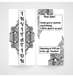 Card with hand drawn doodle pattern Invitation vector image