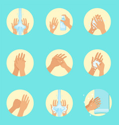Hands washing sequence instruction infographic vector