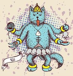 Kali indian god in cat cartoon vector image