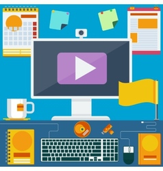 Modern creative office workspace vector image vector image