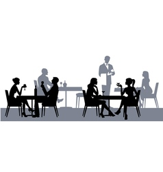 Silhouettes of people in the restaurant or cafe vector image