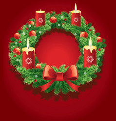 Advent wreath with burning candles vector