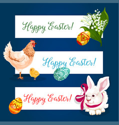 easter holiday banner set with egg bunny chicken vector image vector image