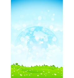 Green Background with Grass Trees Clouds and Plane vector image vector image