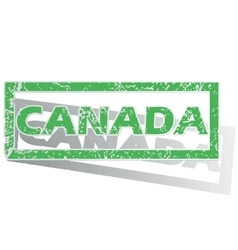 Green outlined canada stamp vector