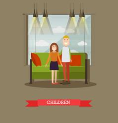 happy cute children in flat vector image