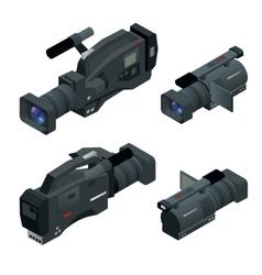 Professional digital video camera set film lens vector